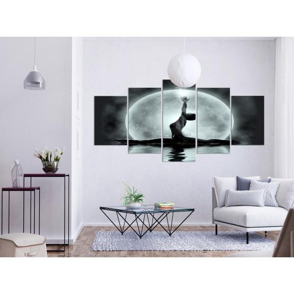 Tablou Twine (5 Parts) Wide Grey 100 cm x 50 cm naturlich.ro