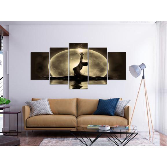 Tablou Twine (5 Parts) Wide Golden 100 cm x 50 cm naturlich.ro