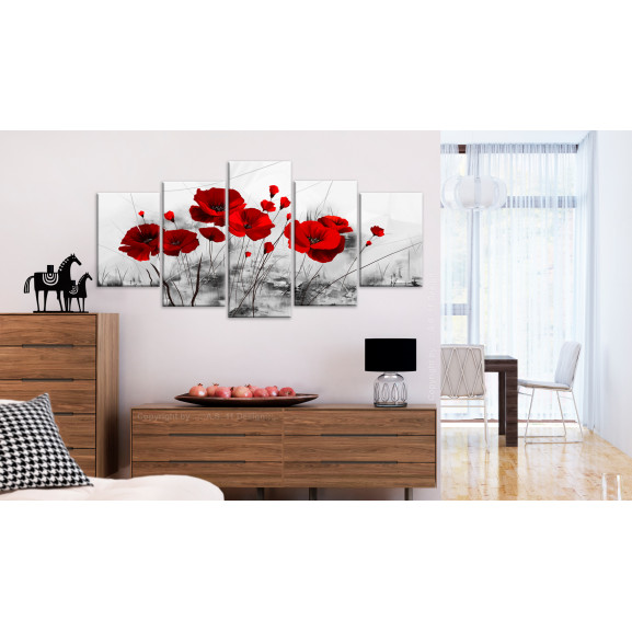Tablou Poppies Red Miracle 100 cm x 50 cm naturlich.ro