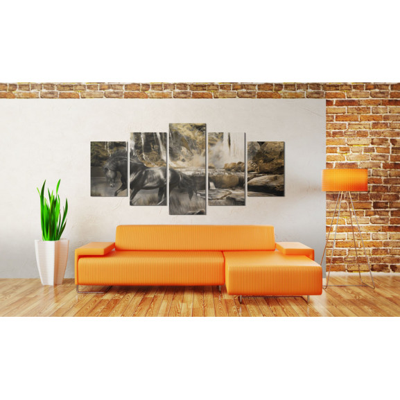 Tablou Foggy Weather Over Waterfall 100 cm x 50 cm naturlich.ro