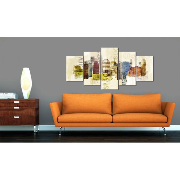 Tablou Urban Design 5 Pieces 100 cm x 50 cm naturlich.ro
