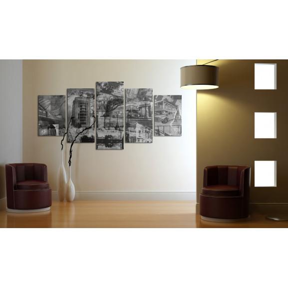 Tablou The Essence Of London 5 Pieces 100 cm x 50 cm naturlich.ro