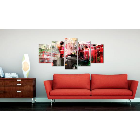 Tablou Memories From London 5 Pieces 100 cm x 50 cm naturlich.ro