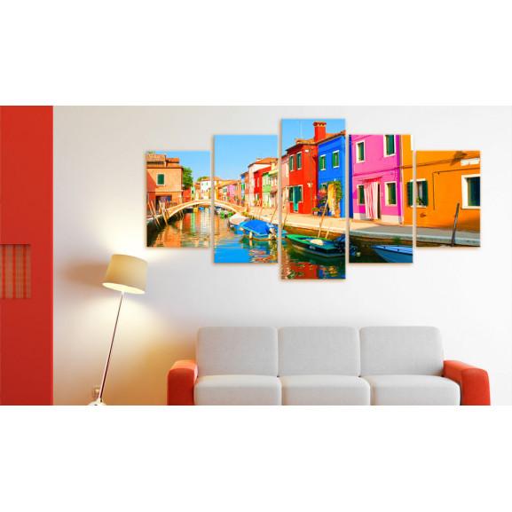 Tablou Waterfront In Rainbow Colors 100 cm x 50 cm naturlich.ro
