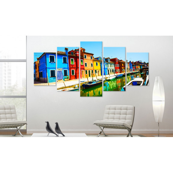 Tablou Houses In The Colors Of The Rainbow 100 cm x 50 cm naturlich.ro