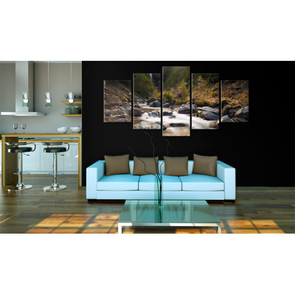 Tablou A Waterfall In The Middle Of Wild Nature 100 cm x 50 cm naturlich.ro