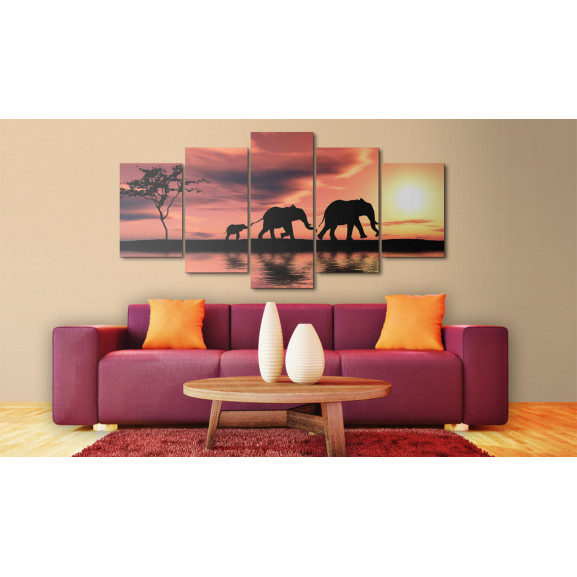 Tablou African Elephants Family 100 cm x 50 cm naturlich.ro