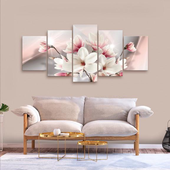 Tablou Magnolia In Bloom (5 Parts) Wide 225 cm x 100 cm naturlich.ro