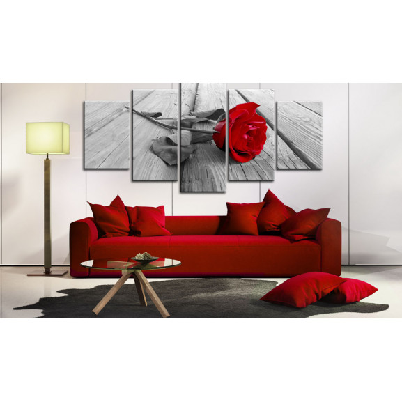 Tablou Rose On Wood (5 Parts) Wide Red 100 cm x 50 cm naturlich.ro