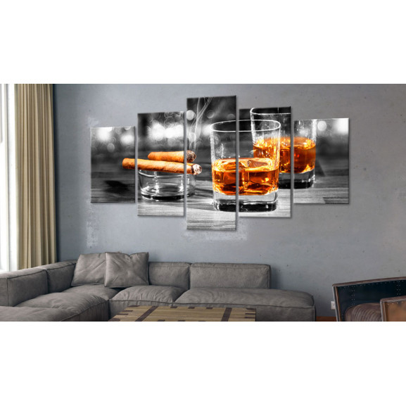 Tablou Cigars And Whiskey 100 cm x 50 cm naturlich.ro