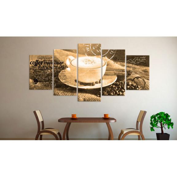 Tablou Coffe, Espresso, Cappuccino, Latte Machiato ... Sepia 100 cm x 50 cm naturlich.ro