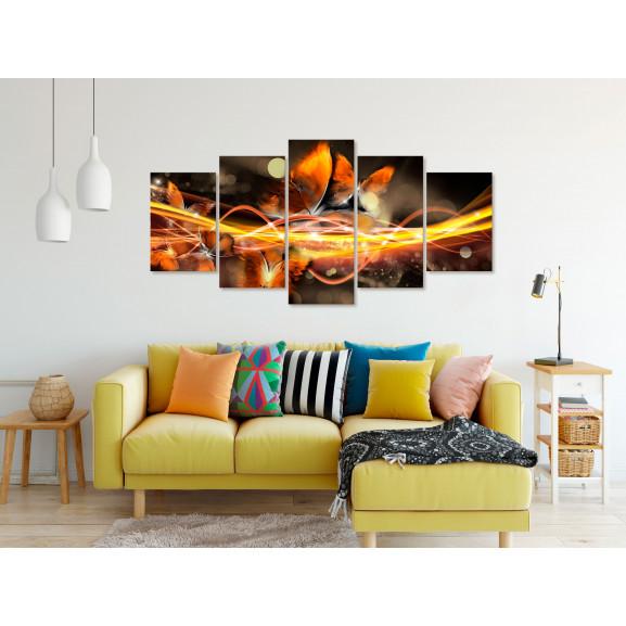 Tablou Swarm Of Butterflies (5 Parts) Wide Orange 100 cm x 50 cm naturlich.ro