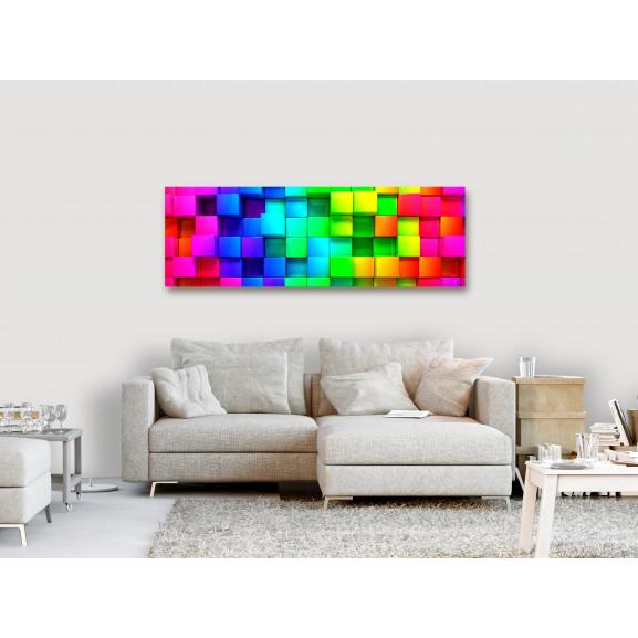 Tablou Colourful Cubes (1 Part) Narrow 120 cm x 40 cm naturlich.ro
