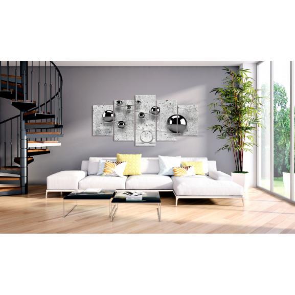 Tablou Balls And Concrete (5 Parts) Wide 100 cm x 50 cm naturlich.ro