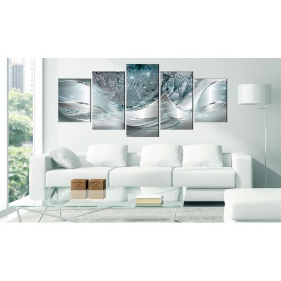Tablou Modern Dandelions (5 Parts) Blue Wide 225 cm x 100 cm naturlich.ro