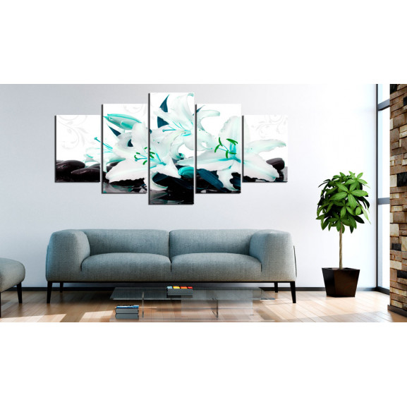 Tablou Turquoise Lilies And Stones 100 cm x 50 cm naturlich.ro