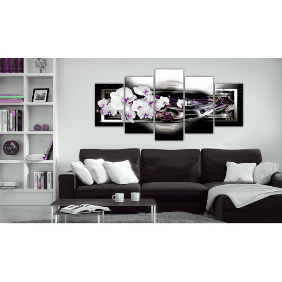 Tablou Orchids On A Black Background 100 cm x 50 cm naturlich.ro