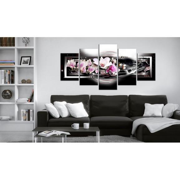 Tablou Magnolias On A Black Background 100 cm x 50 cm naturlich.ro