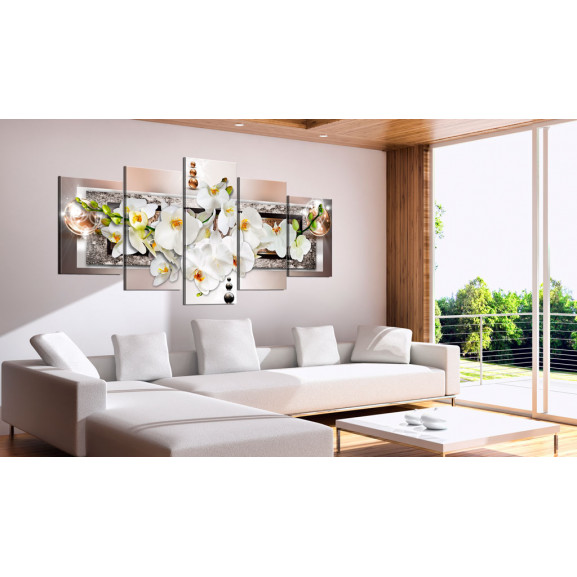 Tablou White Abstract Orchid 100 cm x 50 cm naturlich.ro