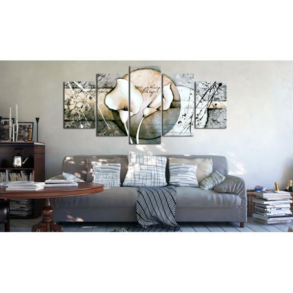 Tablou The Secret Of Calla Lily Grey 100 cm x 50 cm naturlich.ro