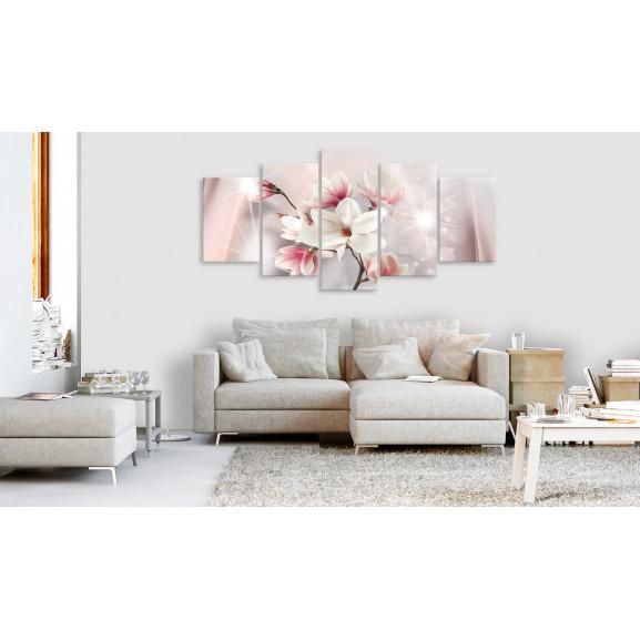 Tablou Dazzling Magnolias (5 Parts) Wide 100 cm x 50 cm naturlich.ro