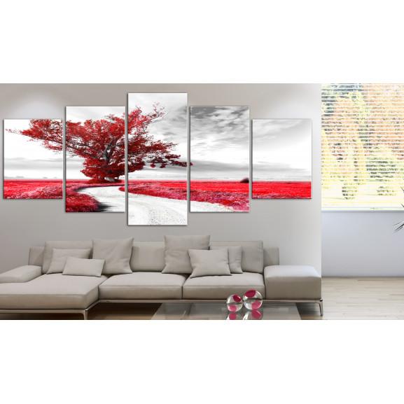 Tablou Lone Tree (5 Parts) Red 225 cm x 100 cm naturlich.ro