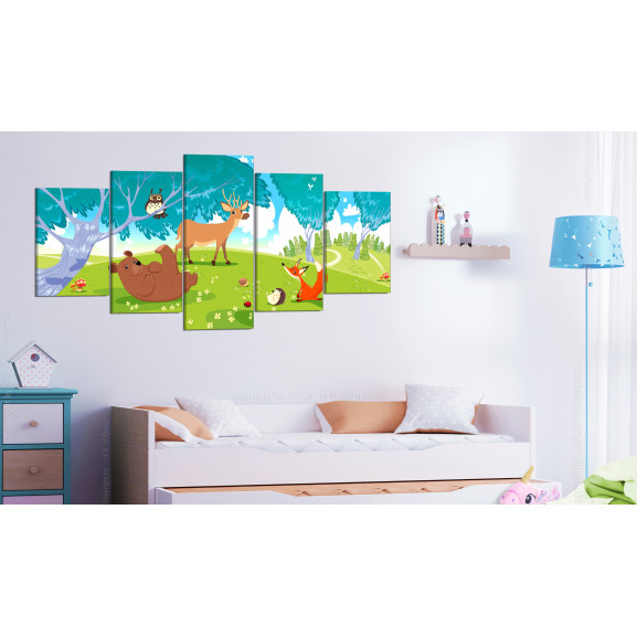 Tablou Friendly Animals (5 Parts) 100 cm x 50 cm naturlich.ro