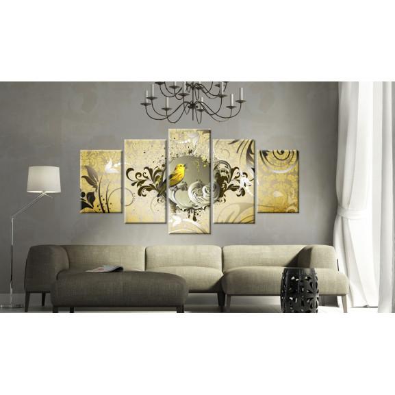 Tablou Yellow Bird Singing 100 cm x 50 cm naturlich.ro