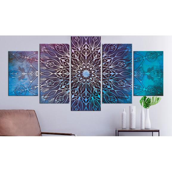 Tablou Center (5 Parts) Wide Blue 100 cm x 50 cm naturlich.ro