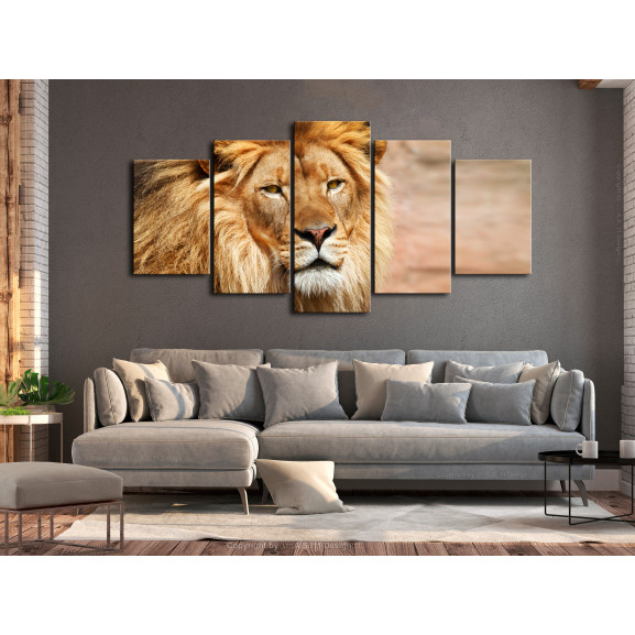 Tablou The King Of Beasts (5 Parts) Wide Orange 100 cm x 50 cm naturlich.ro