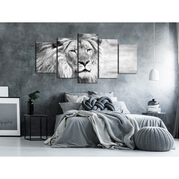 Tablou The King Of Beasts (5 Parts) Wide Black And White 100 cm x 50 cm naturlich.ro
