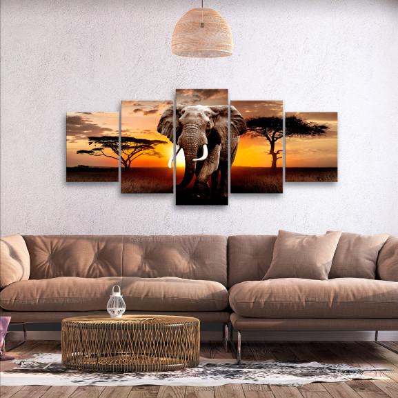Tablou Wandering Elephant (5 Parts) Wide 225 cm x 100 cm naturlich.ro