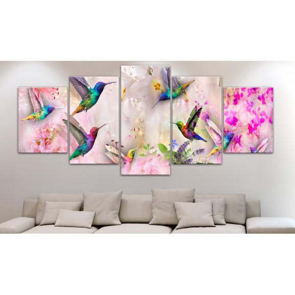 Tablou Colourful Hummingbirds (5 Parts) Wide Pink 100 cm x 50 cm naturlich.ro