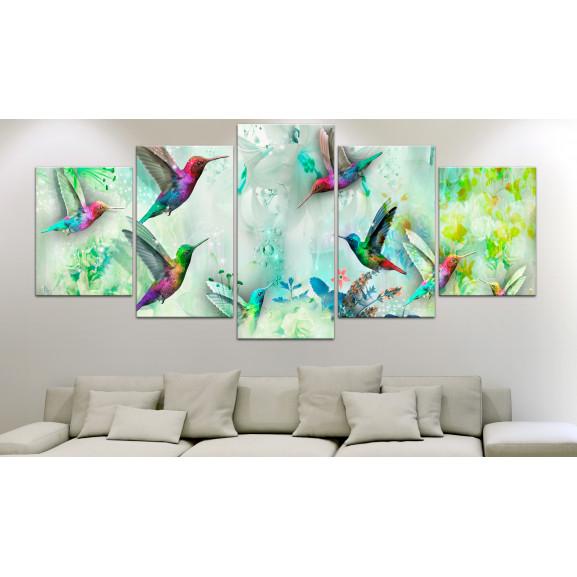 Tablou Colourful Hummingbirds (5 Parts) Wide Green 100 cm x 50 cm naturlich.ro