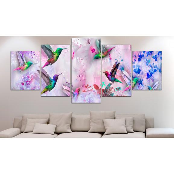 Tablou Colourful Hummingbirds (5 Parts) Wide Violet 100 cm x 50 cm naturlich.ro