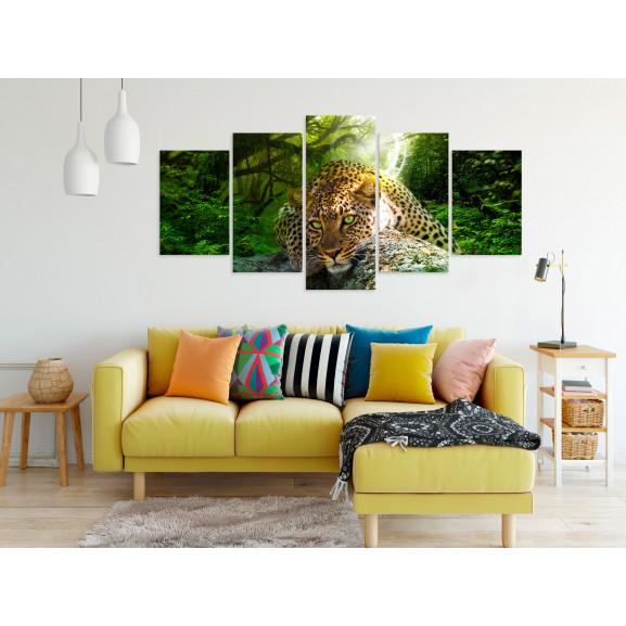 Tablou Leopard Lying (5 Parts) Wide Green 100 cm x 50 cm naturlich.ro