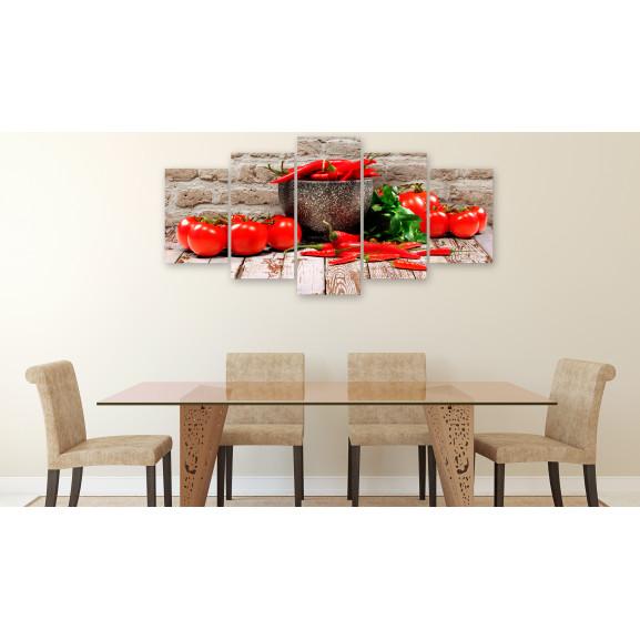 Tablou Red Vegetables (5 Parts) Brick Wide 100 cm x 50 cm naturlich.ro