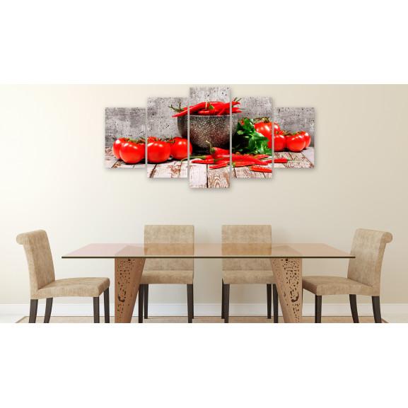 Tablou Red Vegetables (5 Parts) Concrete Wide 100 cm x 50 cm naturlich.ro