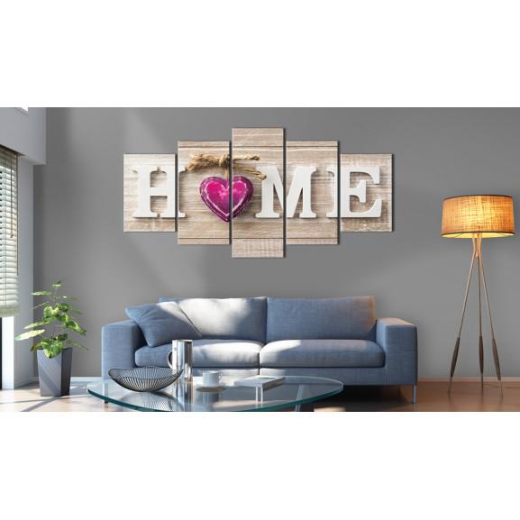 Tablou Home: Pink Heart 100 cm x 50 cm naturlich.ro