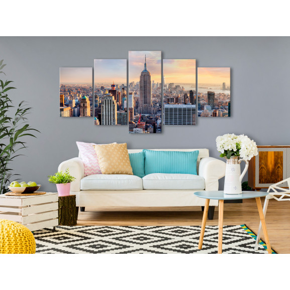 Tablou Sunny Metropolis (5 Parts) Wide 100 cm x 50 cm naturlich.ro