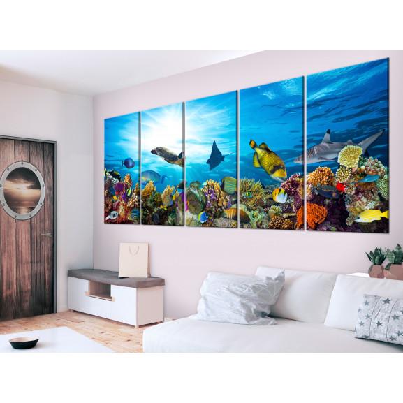 Tablou Coral Reef (5 Parts) Narrow 225 cm x 90 cm naturlich.ro