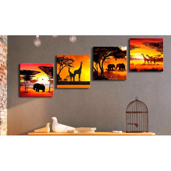 Tablou African Animals (4 Parts) 60 cm x 60 cm naturlich.ro