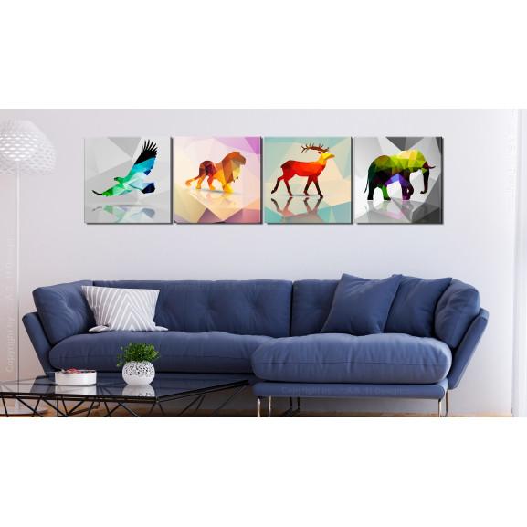 Tablou Colourful Animals (4 Parts) 40 cm x 40 cm naturlich.ro