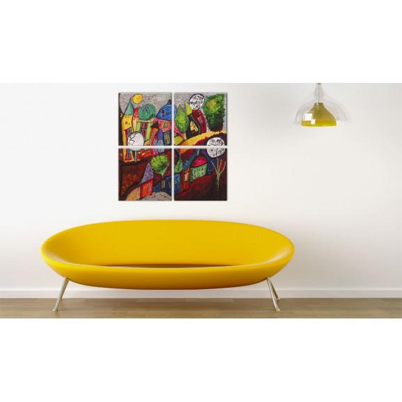 Tablou Colourful City 80 cm x 80 cm naturlich.ro