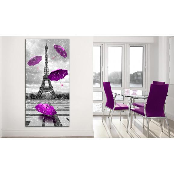 Tablou Paris: Purple Umbrellas 60 cm x 120 cm naturlich.ro