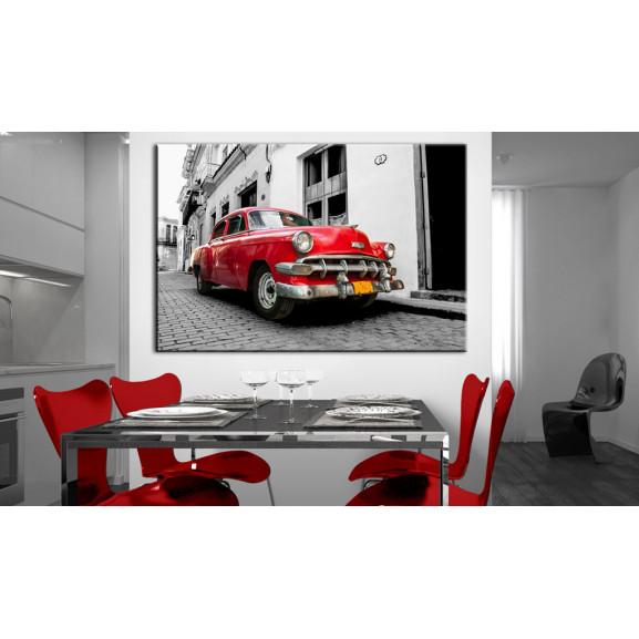 Tablou Cuban Classic Car (Red) 120 cm x 80 cm naturlich.ro