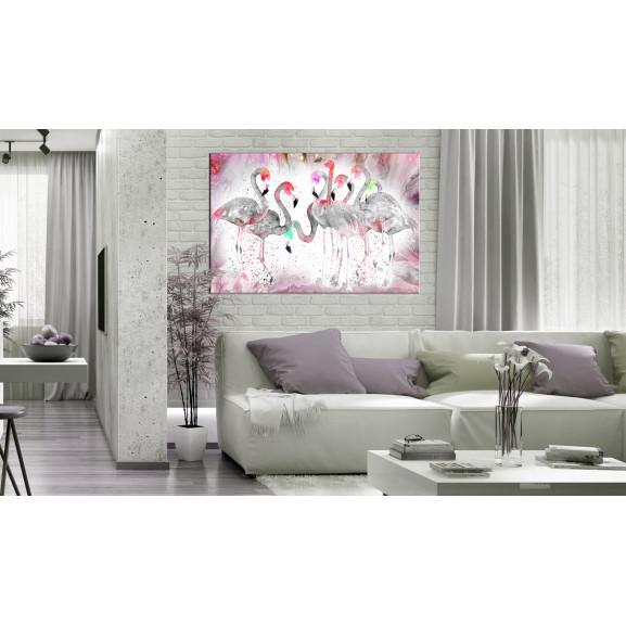 Tablou Flamingoes Family 120 cm x 80 cm naturlich.ro