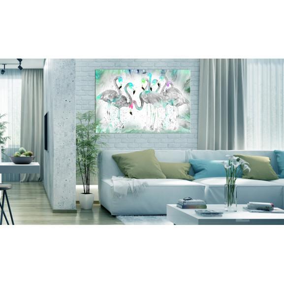 Tablou Turquoise Flamingoes 120 cm x 80 cm naturlich.ro