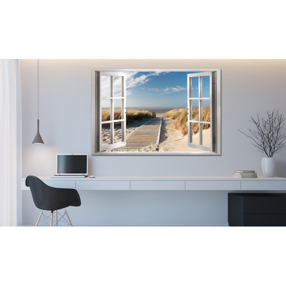 Tablou Window: View Of The Beach 120 cm x 80 cm naturlich.ro