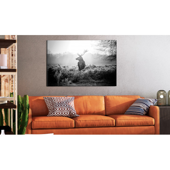 Tablou Black And White Deer 120 cm x 80 cm naturlich.ro